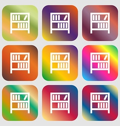 Bookshelf icon sign Nine buttons with bright vector