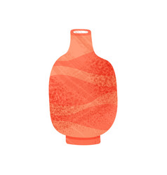 bright red vase with narrow neck old clay vessel vector image