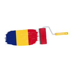 brush stroke with romania national flag isolated vector image