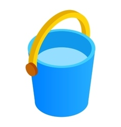 Bucket of water isometric 3d icon vector
