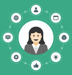 Business woman concept and flat icons set thumbs vector