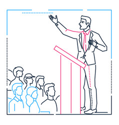 businessman speaking from a platform - line design vector image