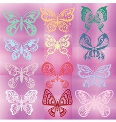 Butterfly set isolated on colorful violet vector
