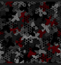camouflage seamless pattern with hexagonal vector image