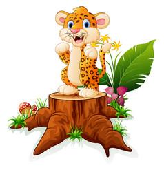 Cartoon baby tiger on tree trunk vector