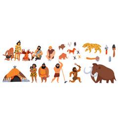 Cavemen cartoon set vector