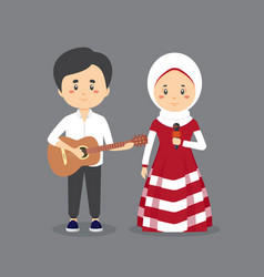 Character couple musician vector