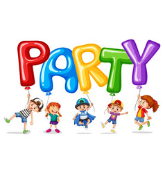 children and balloon for word party vector image