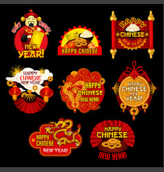 Chinese lunar new year holiday label design vector
