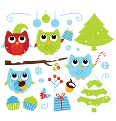 Christmas cartoon owls and decoration set isolated vector