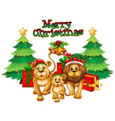 Christmas theme with lions and trees vector