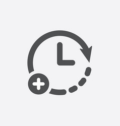Clock icon with add sign vector