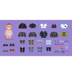 Clothes for man Wardrobe Stock flat vector image