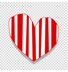 Cute big red paper cut out heart sticker with vector