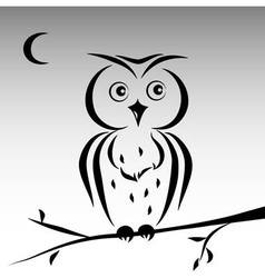 Cute ink owl vector image