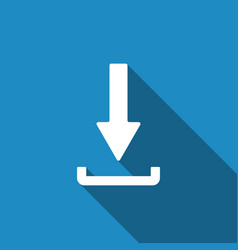 download icon with long shadow upload button vector image