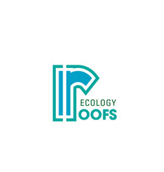 ecology roofs company letter r icon vector image