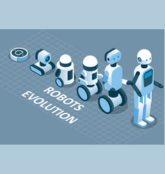 Evolution of robots isometric vector
