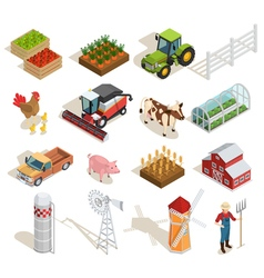 Farm isometric icons collection vector