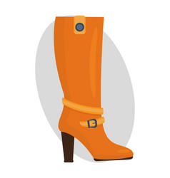 Fashion female orange boots isolated casual foot vector