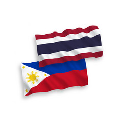 Flags philippines and thailand on a white vector