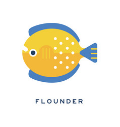 flounder sea fish geometric flat style design vector image