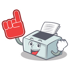 Foam finger printer mascot cartoon style vector