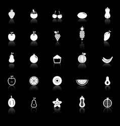 Fruit icons with reflect on black background vector