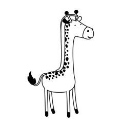 Giraffe cartoon black silhouette in white vector