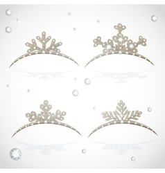 Gold Crown tiara snowflakes shaped for Christmas vector image
