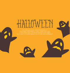 Halloween background with ghost collection vector