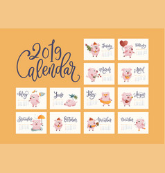 hand drawn calendar for 2019 vector image