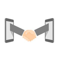 handshake between two smartphone set business vector image