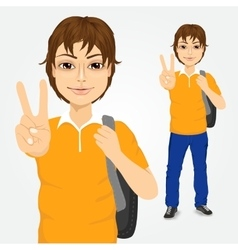 Handsome student guy making victory sign vector