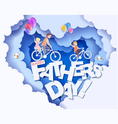 happy fathers day card paper cut style vector image