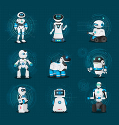 Humanoids and androids robots collection vector
