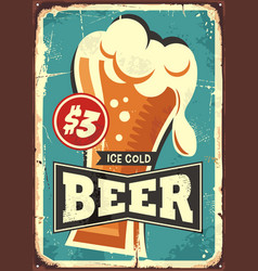 Ice cold beer vintage metal sign vector