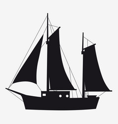 Icon sailboat boat yacht side view silhoutte vector