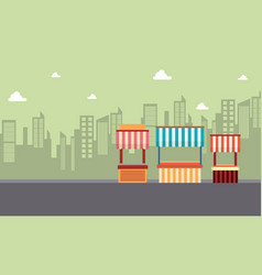 landscape of street stall background vector image vector image