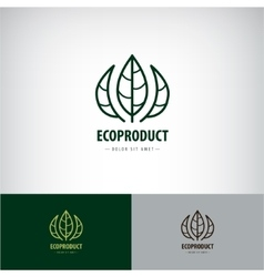 Line leaves logo eco natural organic vector