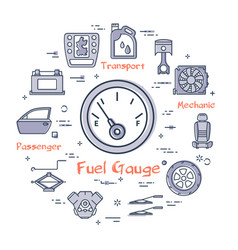 Linear round banner of fuel gauge vector