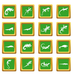 Lizard icons set green vector