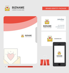 love letter business logo file cover visiting vector image