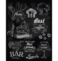 Menu set on chalkboard vector