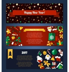 Merry Christmas and Happy New Year flat design vector