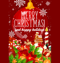 merry christmas gifts greeting card vector image
