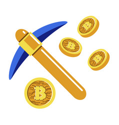 mining cryptocurrency or bitcoin extracting coins vector image