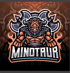 minotaur esport mascot logo vector image