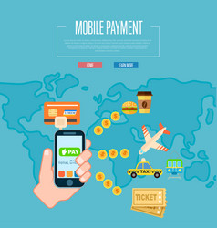 mobile payment concept in flat design vector image