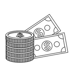 Money coins and billets vector